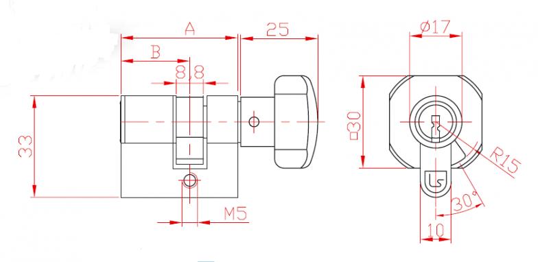 Broască în  două puncte cu cilindru L 21 și măner
