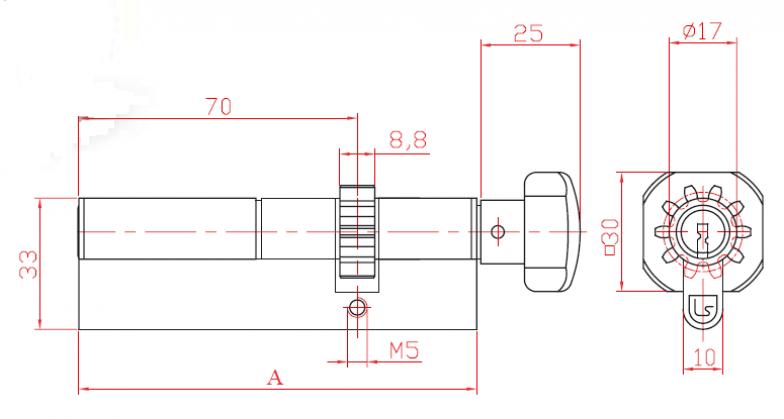 Broască în două puncte cu cilindru de L 52 cu roată dințată și măner