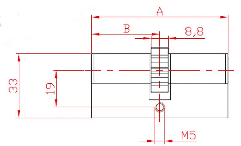 Încuietoare bilaterală cu roată dințată