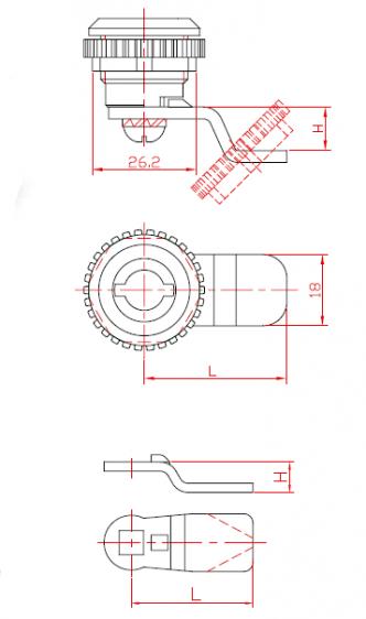 Yală pentru dulapuri metalice cu încuiere într-un pas cu rotor metalic