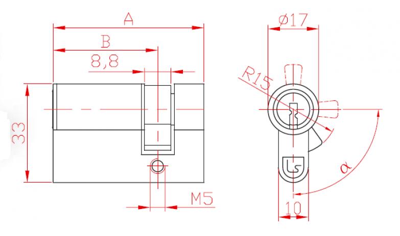 Broască într-un punct Half cu cilindru L 29